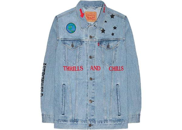 d52ce36d Travis Scott Astroworld Thrills And Chills Denim Jacket Blue
