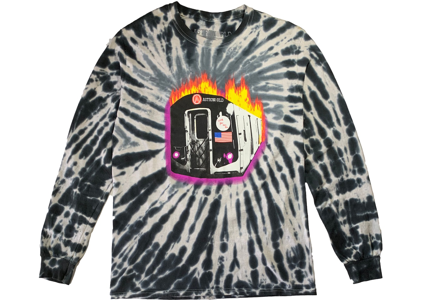b5625e7973ce Travis Scott Astroworld Tour Burning Train Barclays L/S Tee Tie Dye ...
