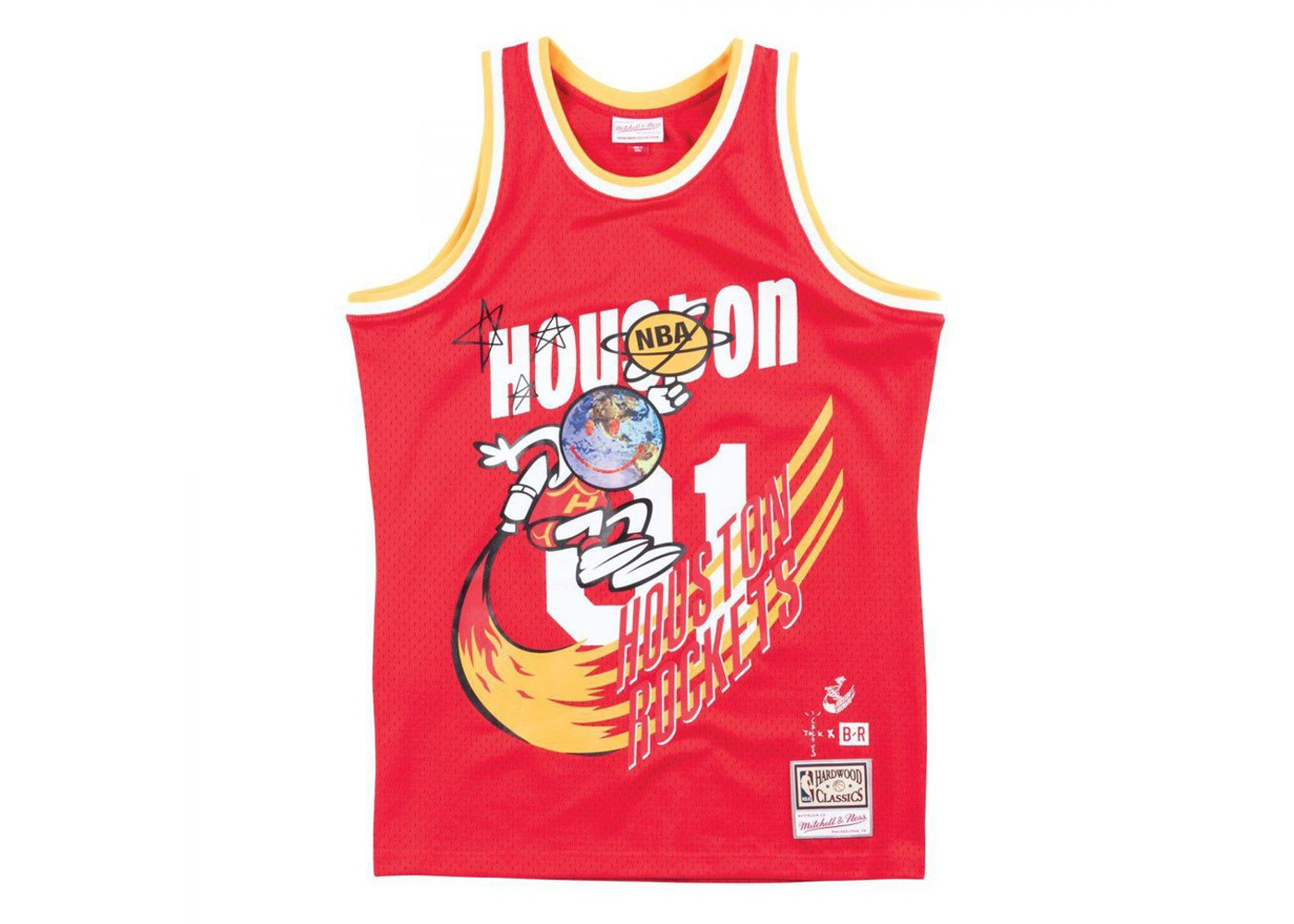 pretty nice 4113a 22050 Travis Scott x BR x Mitchell & Ness Rockets Jersey Red