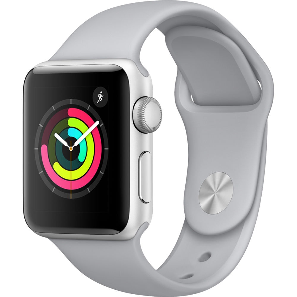 Apple Watch Series 3 GPS 38mm Silver Aluminum Case with Fog Sport Band A1858