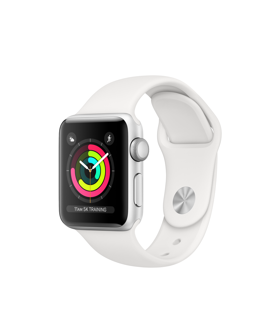 Apple Watch Series 3 GPS 38mm Silver Aluminum Case with White Sport A1858