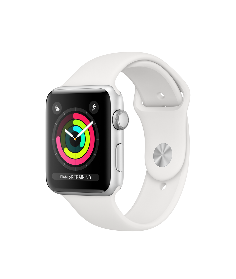 Apple Watch Series 3 GPS 42mm Silver Aluminum Case with White Sport A1859