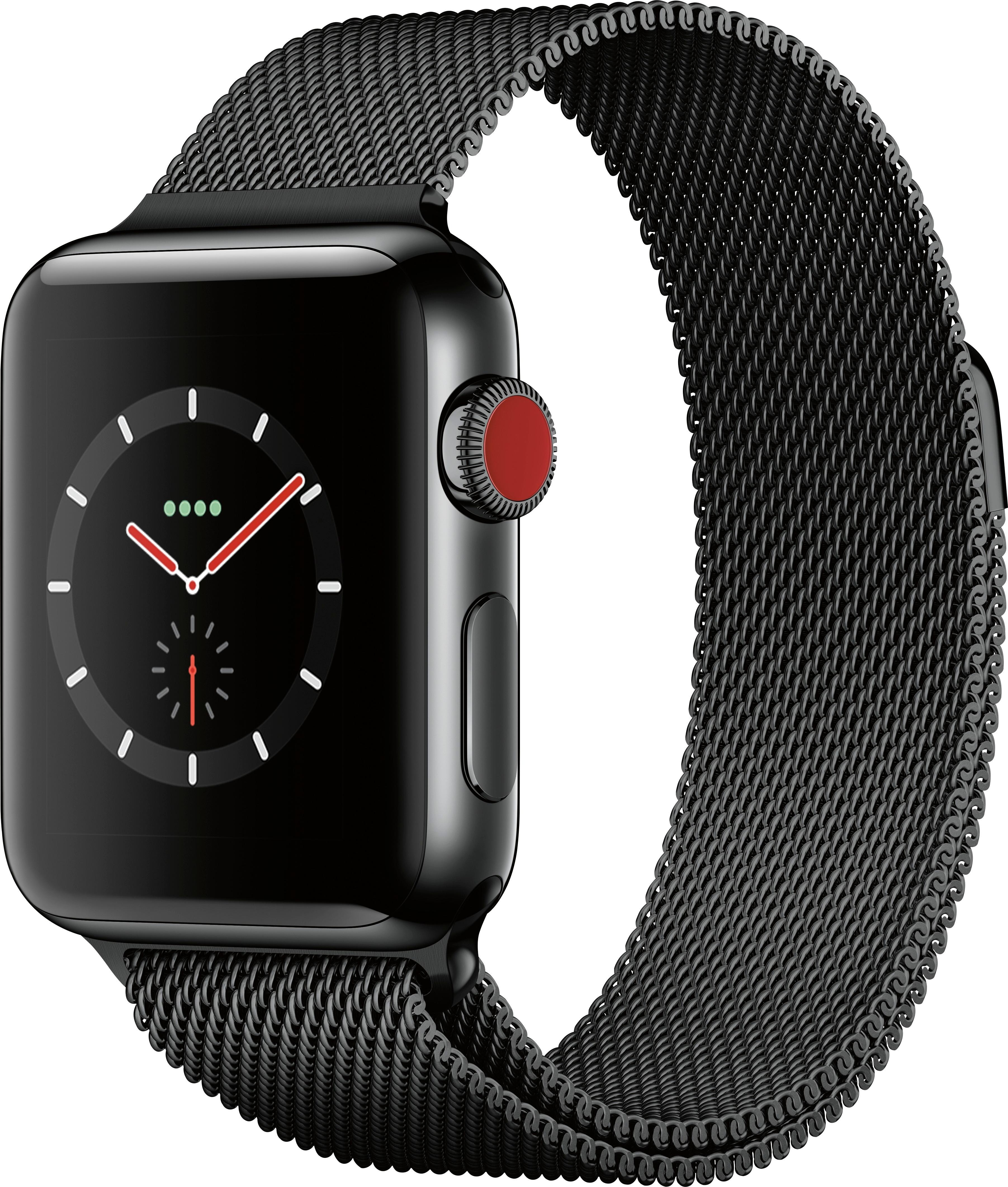Apple Watch Series 3 GPS + Cellular 38mm Stainless Steel Case with Black Milanese Loop A1860