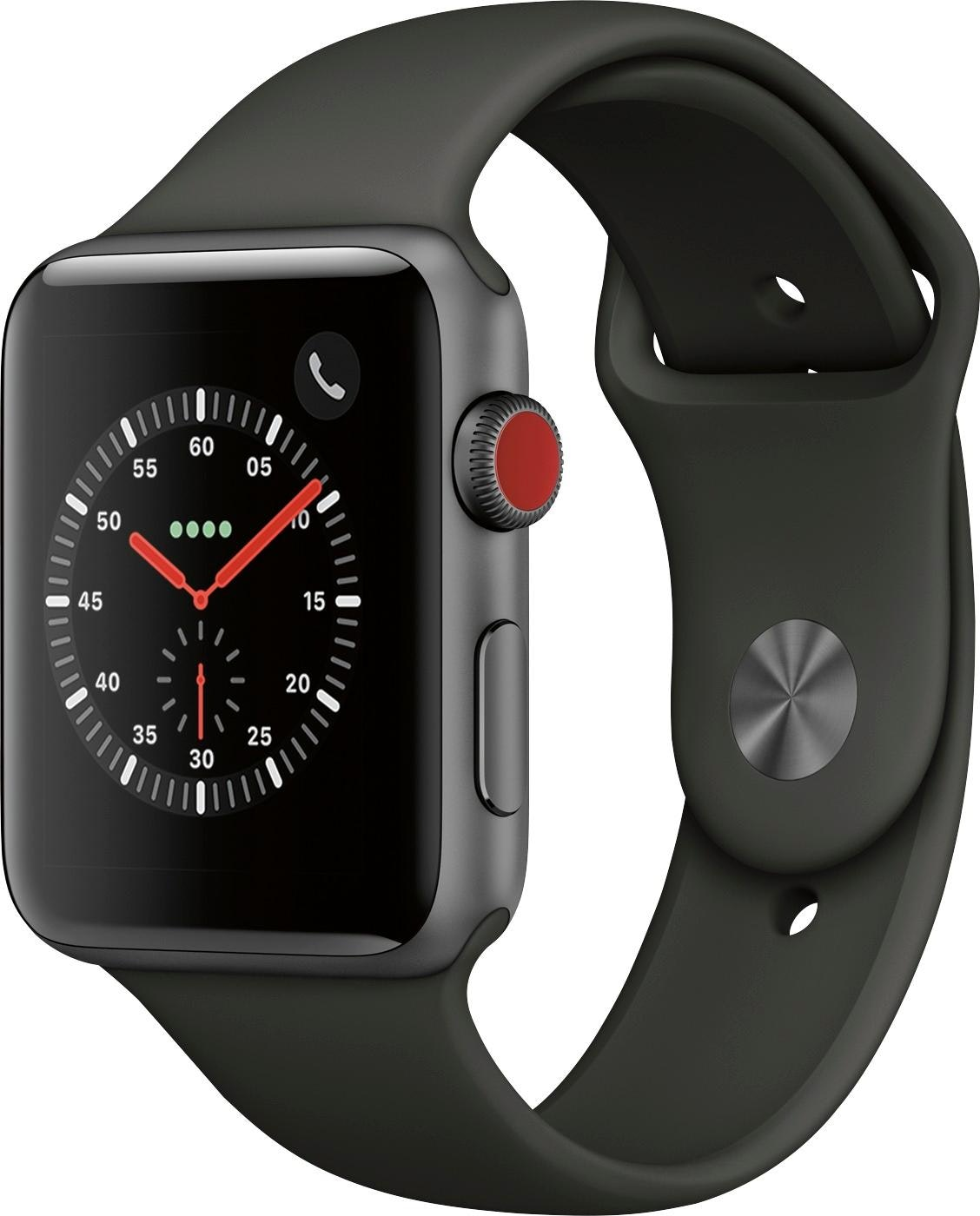 Apple Watch Series 3 GPS + Cellular 42mm Aluminum Case with Gray Sport Band A1861