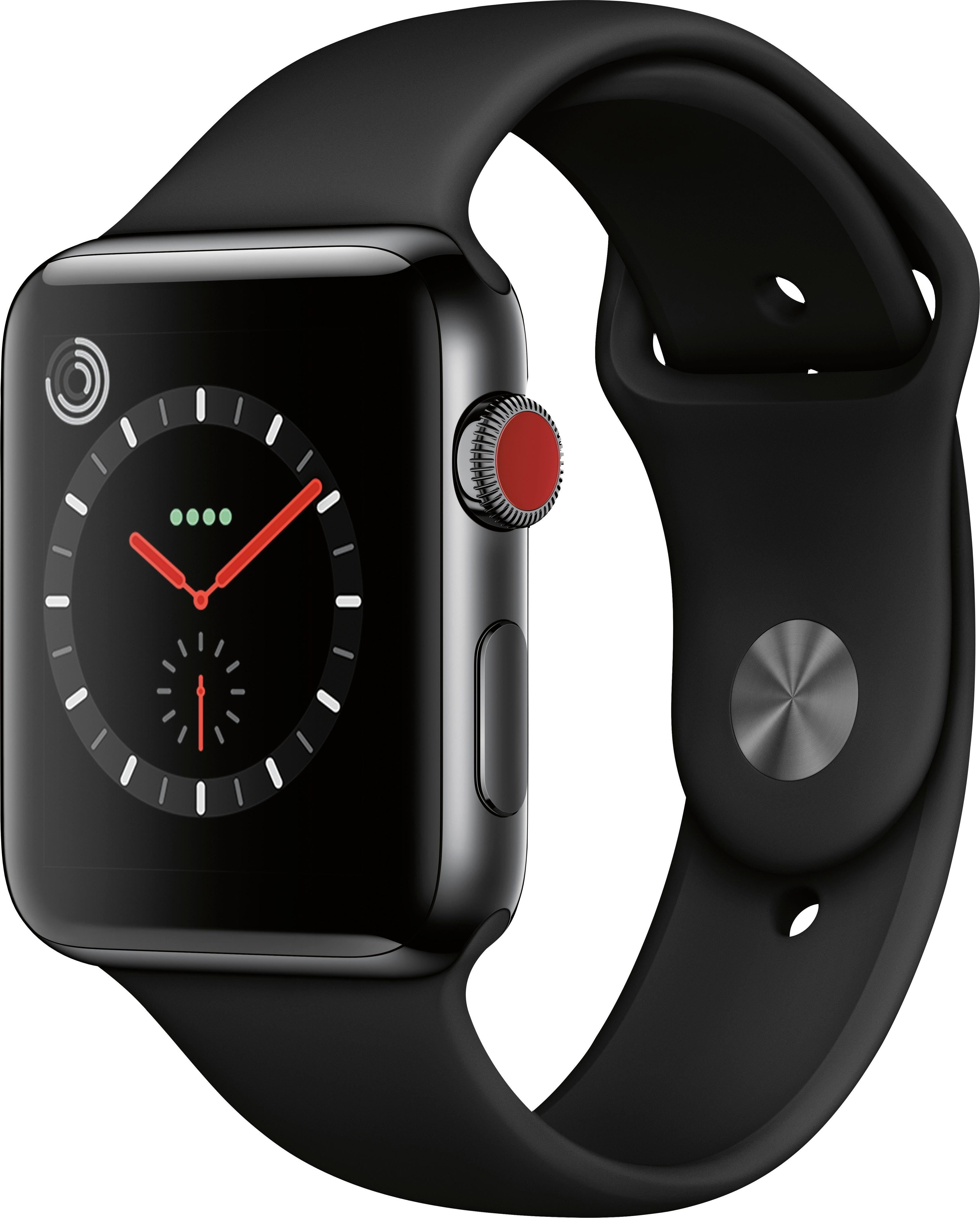 Apple Watch Series 3 GPS + Cellular 42mm Stainless Steel Case with Black Sport Band A1861