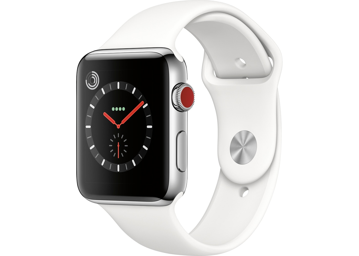 best website ca3f8 a5cc7 Apple Watch Series 3 GPS + Celllular 42mm Stainless Steel Case with Black  Sport Band A1861