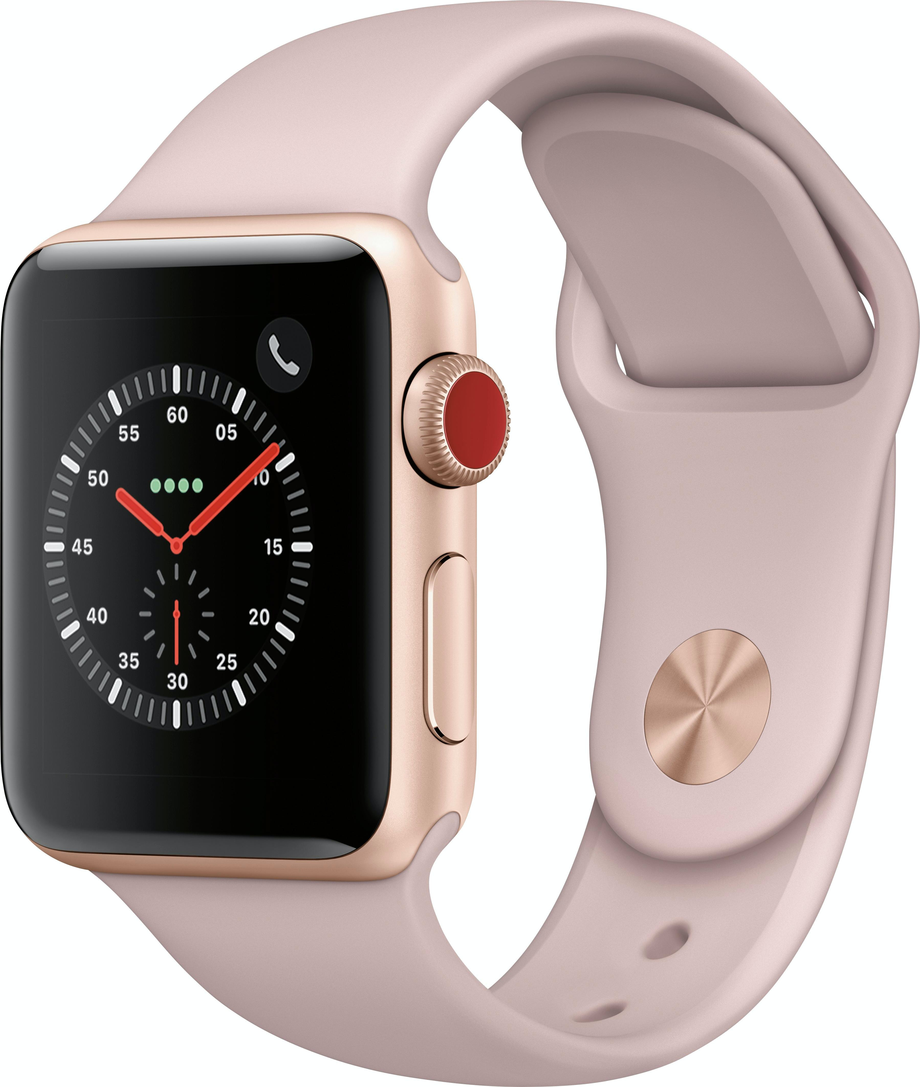 Apple Watch Series 3 GPS + Cellular 38mm Gold Aluminum Case with Pink Sand Sport Band A1860