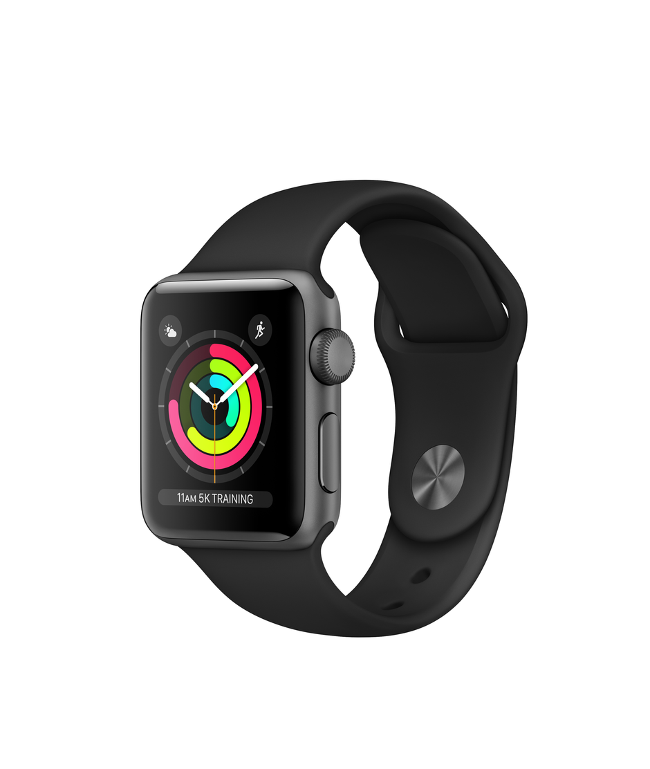 Apple Watch Series 3 GPS + Cellular 38mm Space Gray Aluminum Case with Black Sport A1860