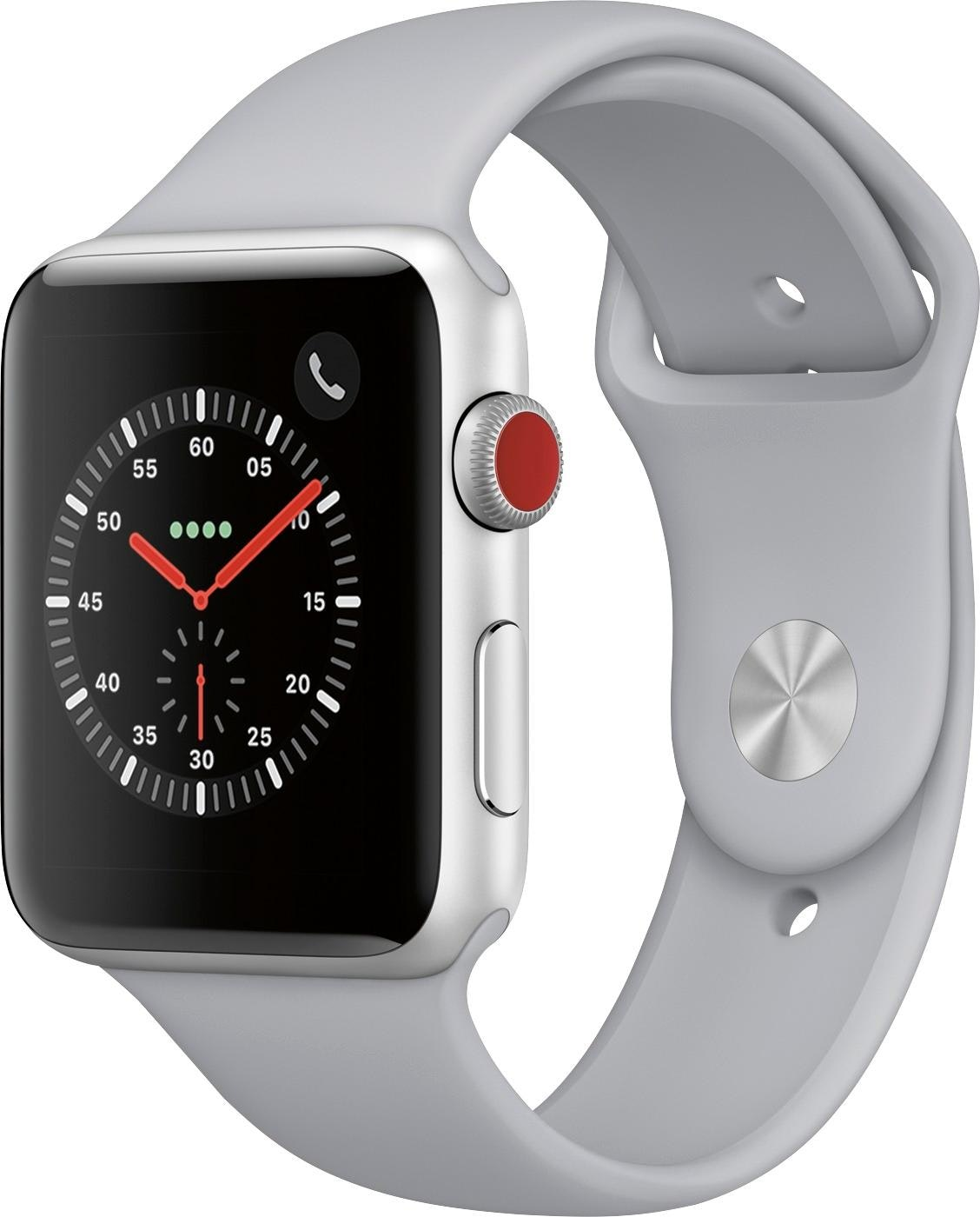 Apple Watch Series 3 GPS + Cellular 42mm Silver Aluminum Case with Fog Sport Band A1861