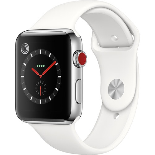 Apple Watch Series 3 GPS + Cellular 42mm Silver Aluminum Case with White Sport A1861