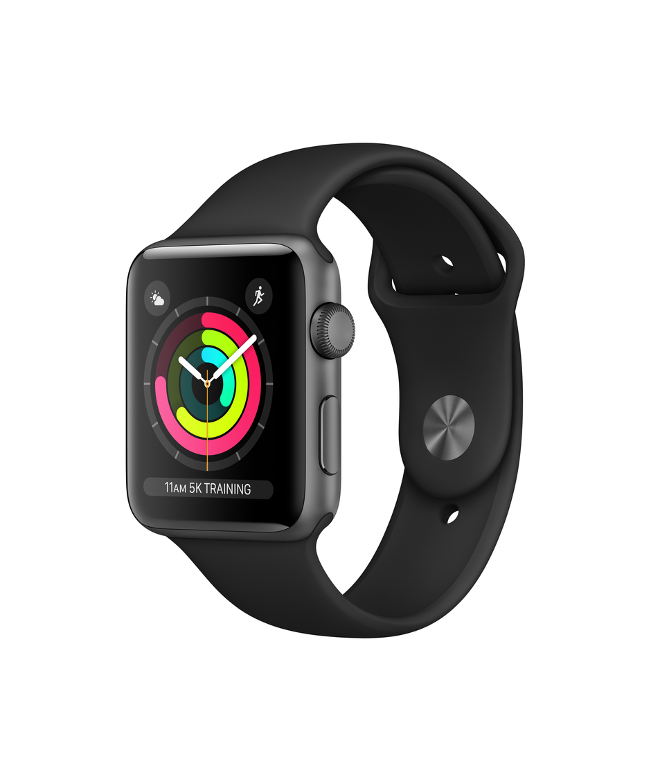 Apple Watch Series 3 GPS + Cellular 42mm Space Gray Aluminum Case with Black Sport A1861