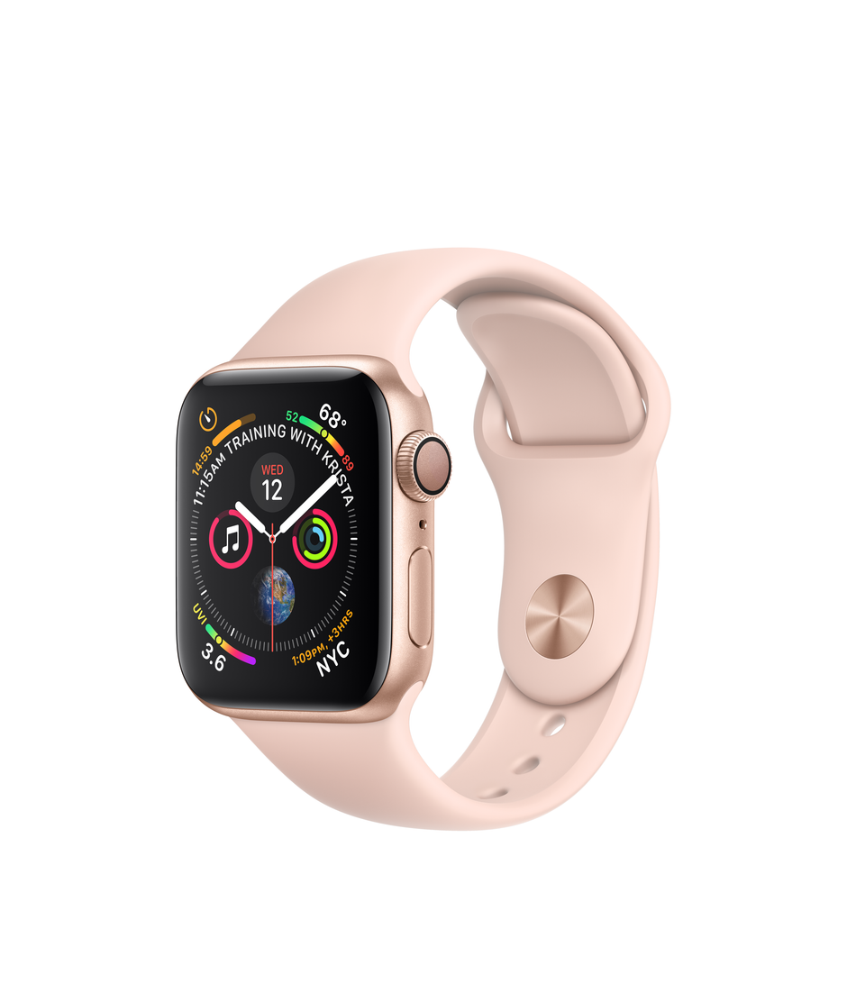 Apple Watch Series 4 GPS 40mm Gold Aluminum Case with Pink Sand Sport Band A1977