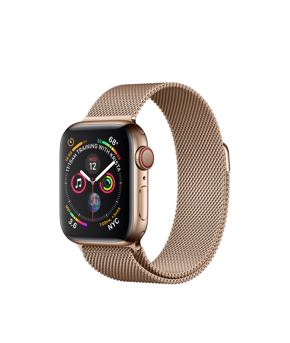 Apple Watch Series 4 GPS + Cellular 40mm Gold Stainless Steel Case with Gold Milanese Loop A1975