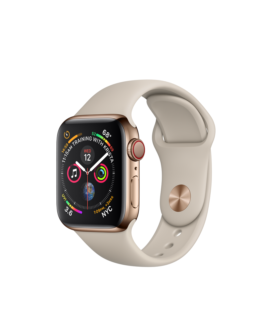 Apple Watch Series 4 GPS + Cellular 40mm Gold Stainless Steel Case with Pink Sand Sport Band A1975