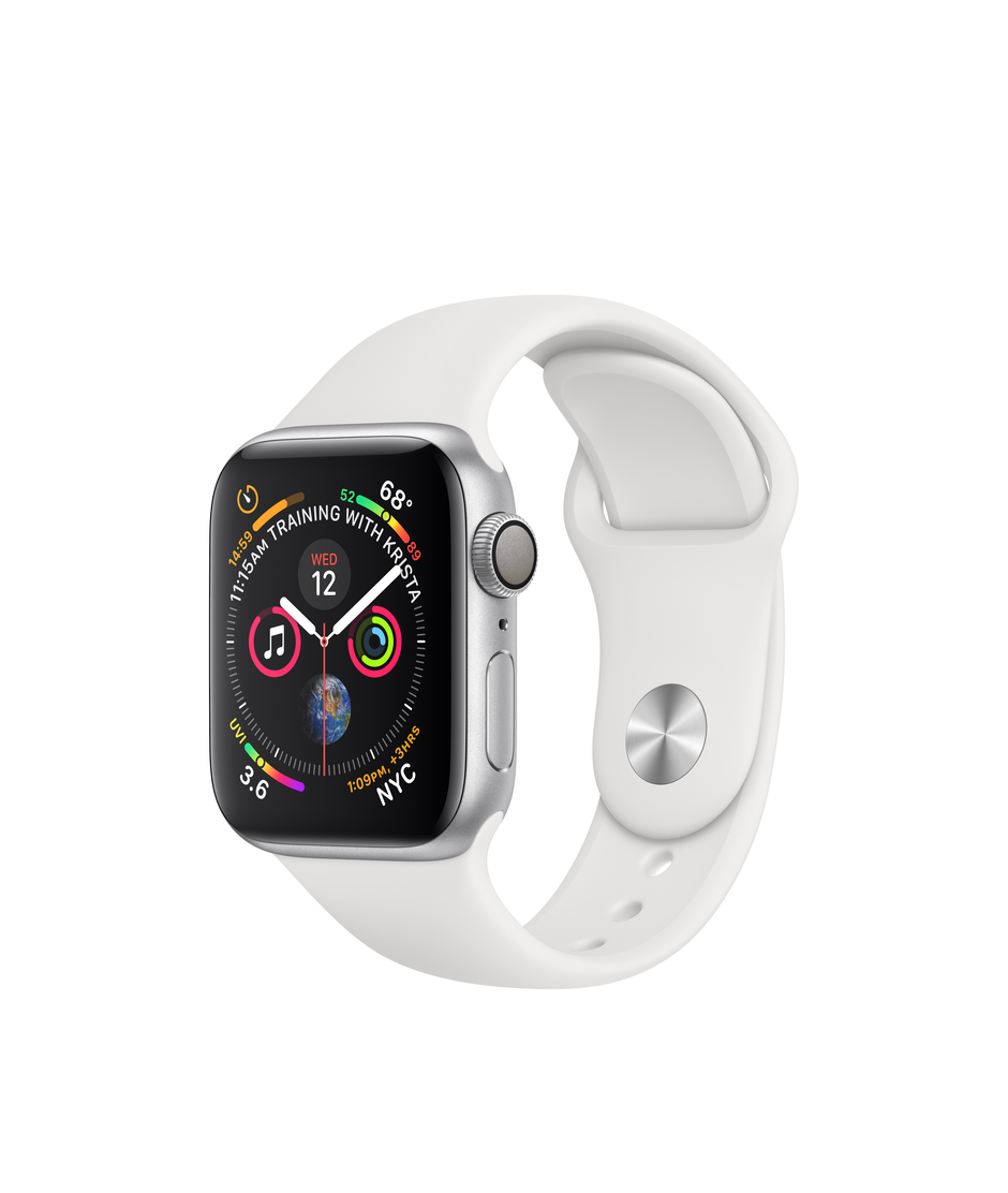 Apple Watch Series 4 GPS + Cellular 40mm Silver Aluminum Case with White Sport Band A1975