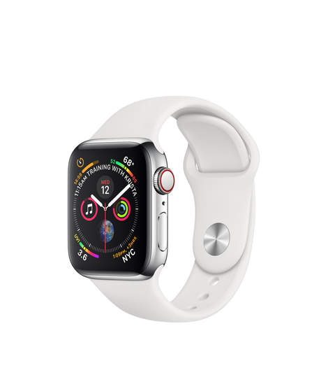 Apple Watch Series 4 GPS + Cellular 40mm Silver Stainless Steel Case with White Sport Band A1975