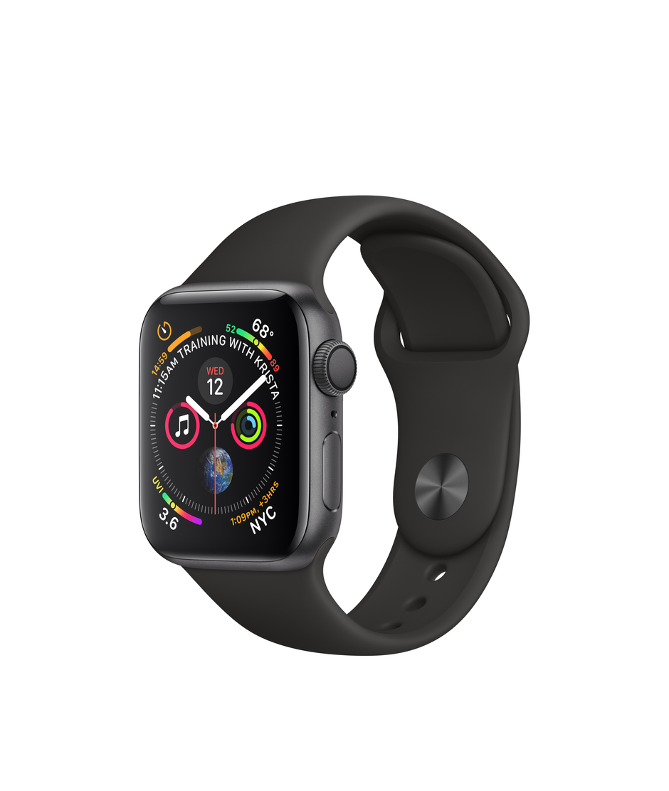 Apple Watch Series 4 GPS + Cellular 40mm Space Gray Aluminum Case with Black Sport Band A1975