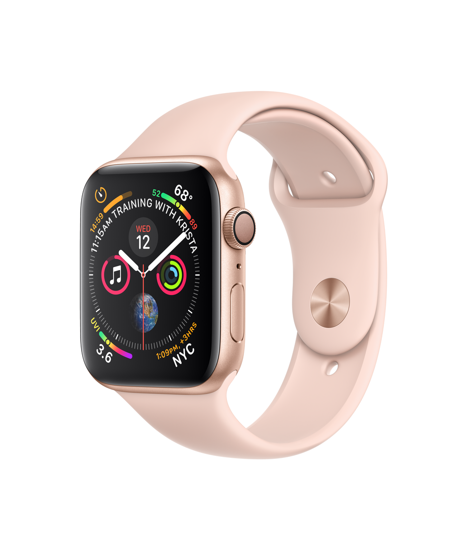 Apple Watch Series 4 GPS + Cellular 44mm Gold Aluminum Case with Pink Sand Sport Band A1976