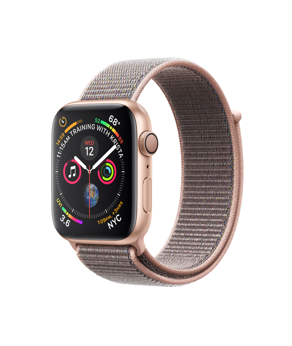 Apple Watch Series 4 GPS + Cellular 44mm Gold Aluminum Case with Pink Sand Sport Loop A1976