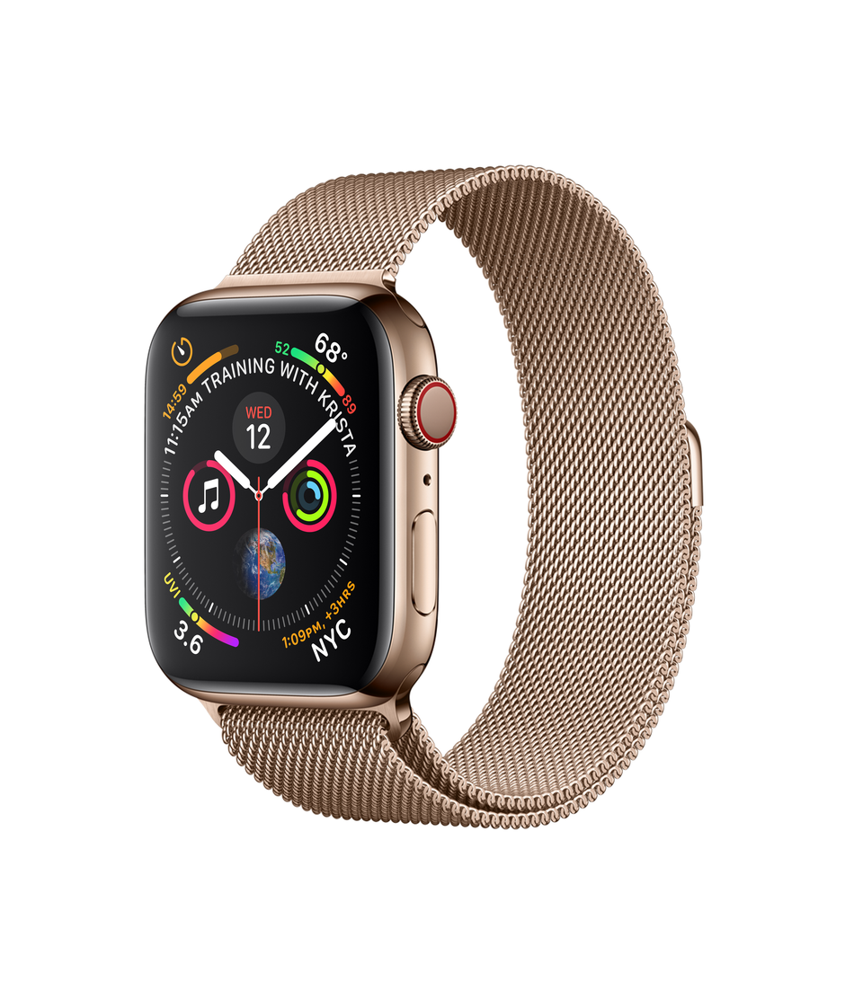 Apple Watch Series 4 GPS + Cellular 44mm Gold Stainless Steel Case with Gold Milanese Loop A1976