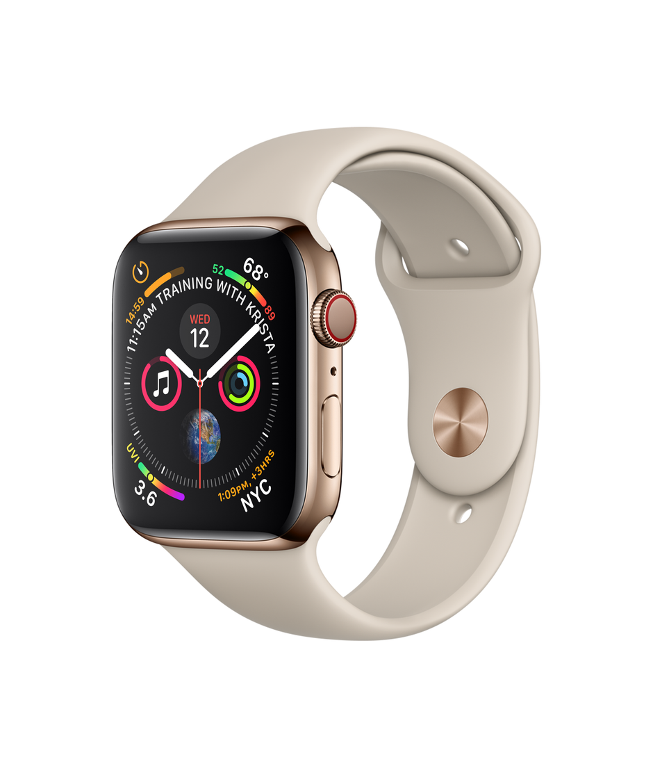 Apple Watch Series 4 GPS + Cellular 44mm Gold Stainless Steel Case with Pink Sand Sport Band A1976
