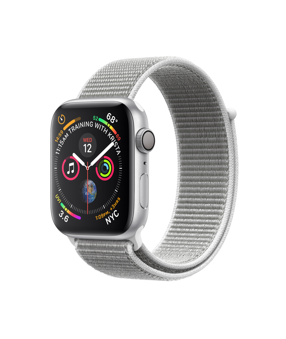 Apple Watch Series 4 GPS + Cellular 44mm Silver Aluminum Case with Seashell Sport Loop A1976