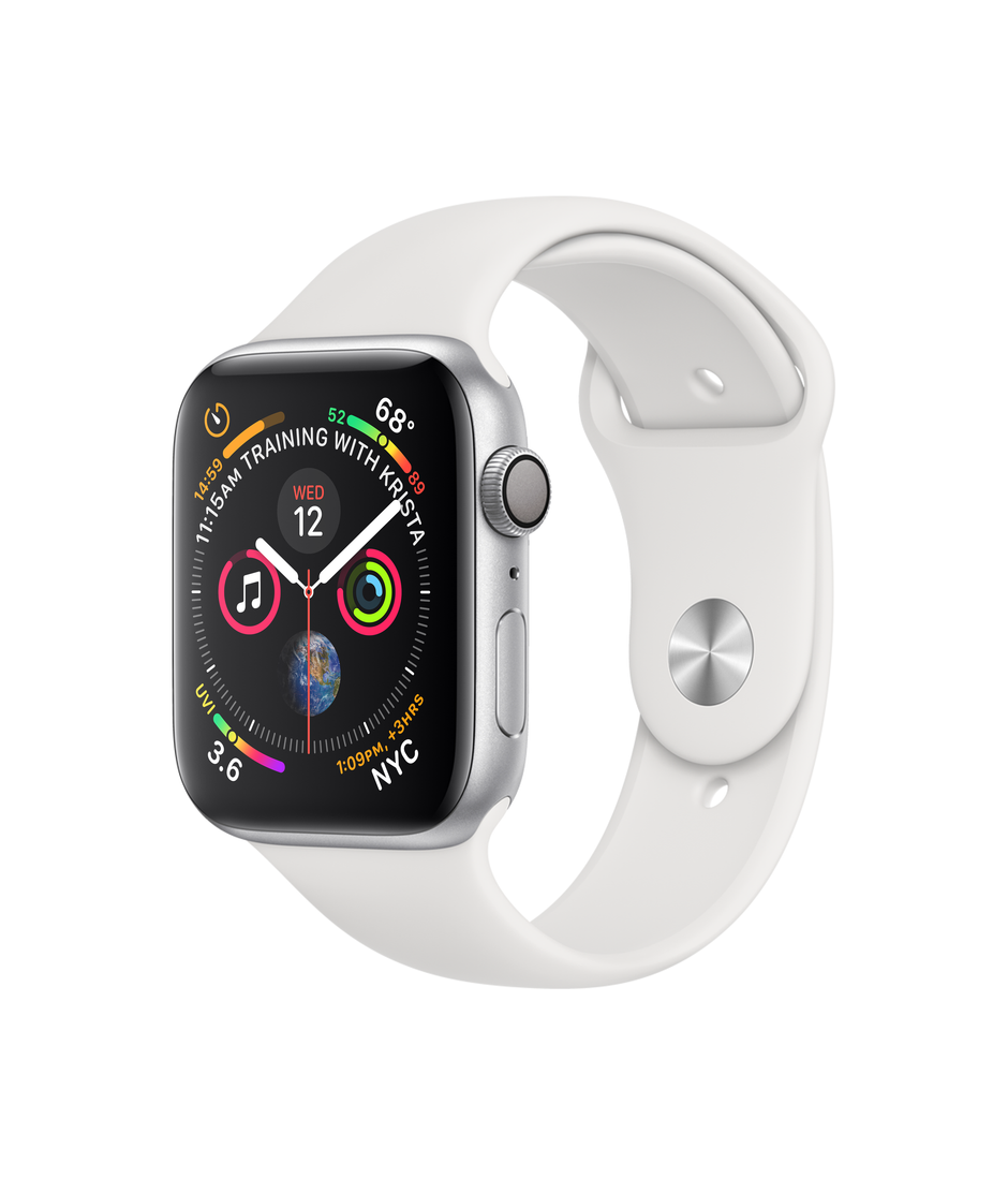 Apple Watch Series 4 GPS + Cellular 44mm Silver Aluminum Case with White Sport Band A1976