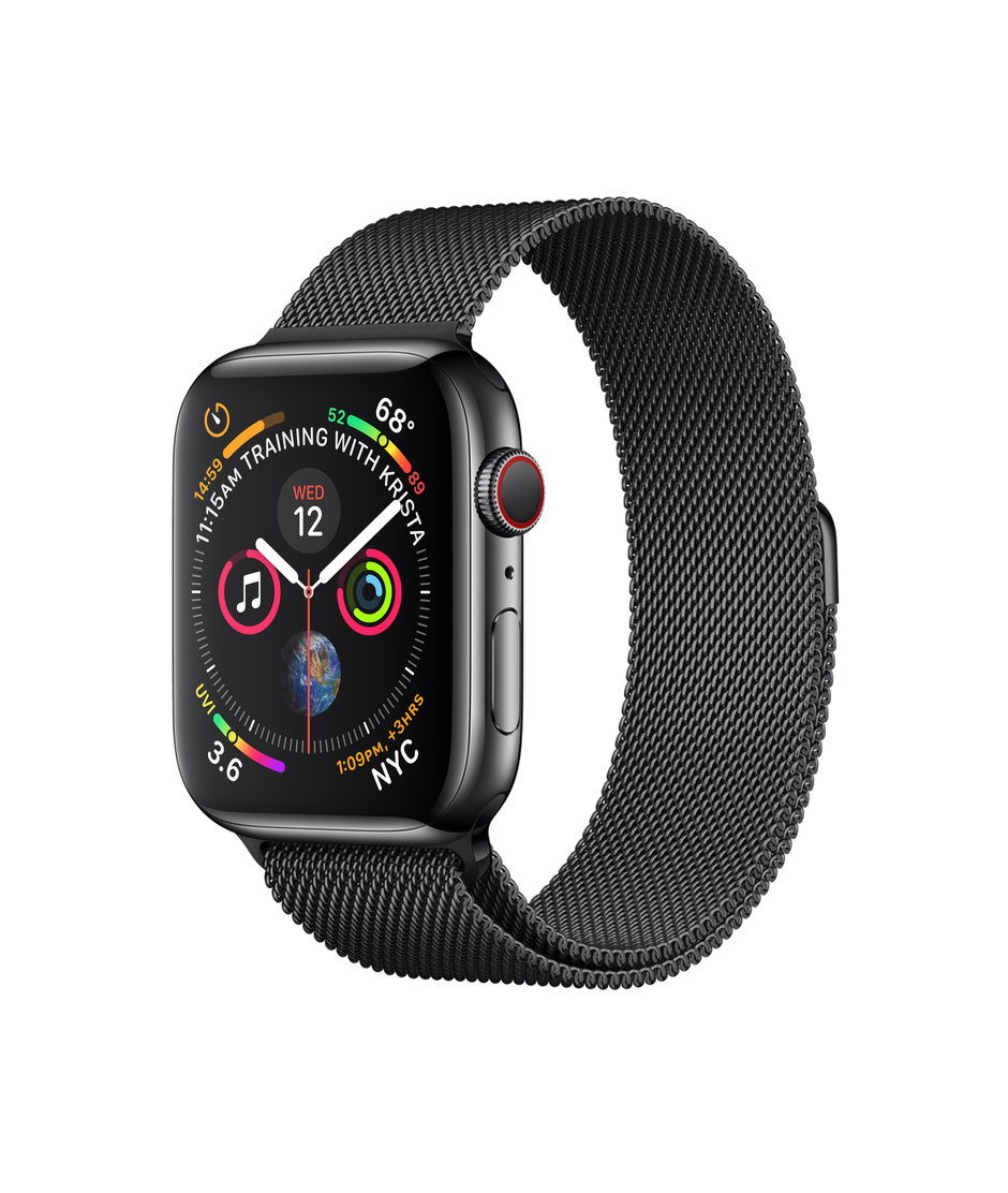 Apple Watch Series 4 GPS + Cellular 44mm Space Black Stainless Steel Case with Space Black Milanese Loop A1976