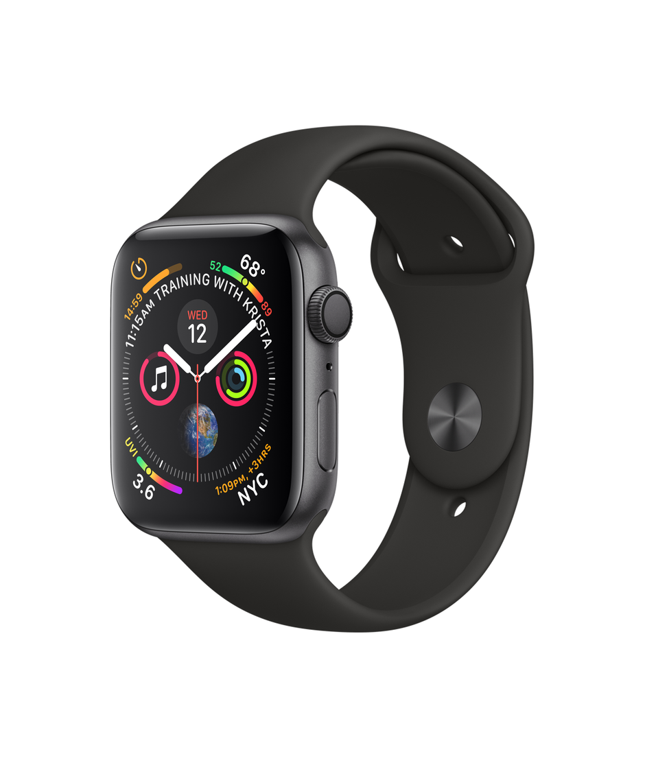 Apple Watch Series 4 GPS + Cellular 44mm Space Gray Aluminum Case with Black Sport Band A1976