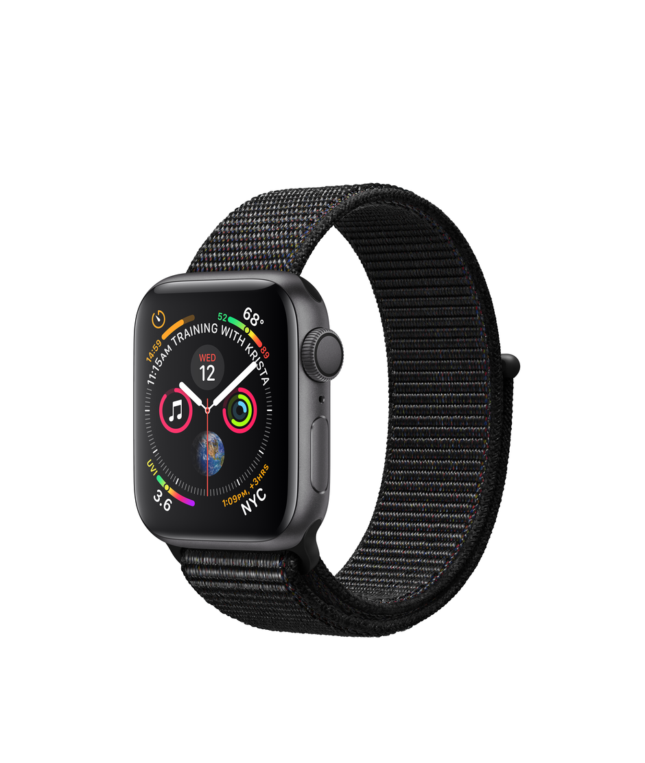 Apple Watch Series 4 GPS + Cellular 44mm Space Gray Aluminum Case with Black Sport Loop A1976