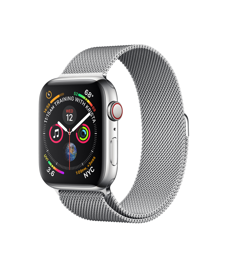 Apple Watch Series 4 GPS + Cellular 44mm Stainless Steel Case with Milanese Loop A1976