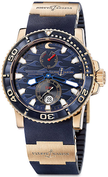 Ulysse Nardin Maxi Marine Blue Surf Chonometer Limited Edition 266-36Le-3A In Rose Gold
